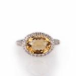 טבעת אבן סיטרין 4 קראט בשילוב יהלומים 3500 שח