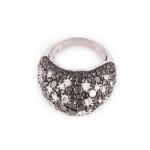 טבעת יהלומים שחורים ולבנים  26000שח